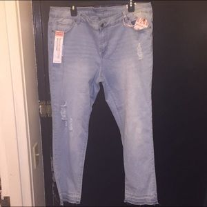 Light wash distressed jeans plus size 22